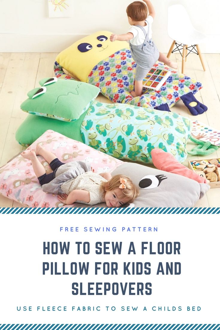 Free Sewing Pattern for a Kids Floor Bed Pillow, Easy to sew http://www.craftdrawer.com/2017/04/free-easy-sewing-floor-pillow-pattern.html