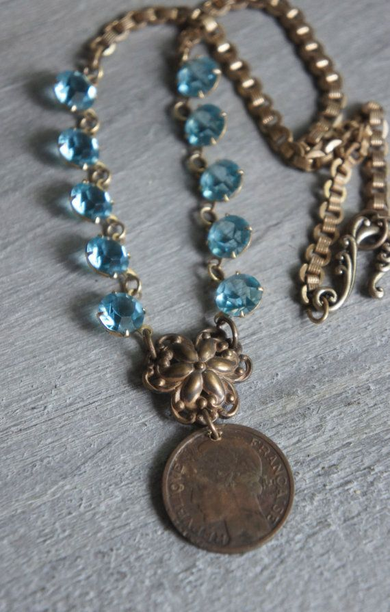 French Blu-Vintage assemblage necklace with French Franc 1937 coin, vintage blue glass crystals and brass chain by frenchfeatherdesigns