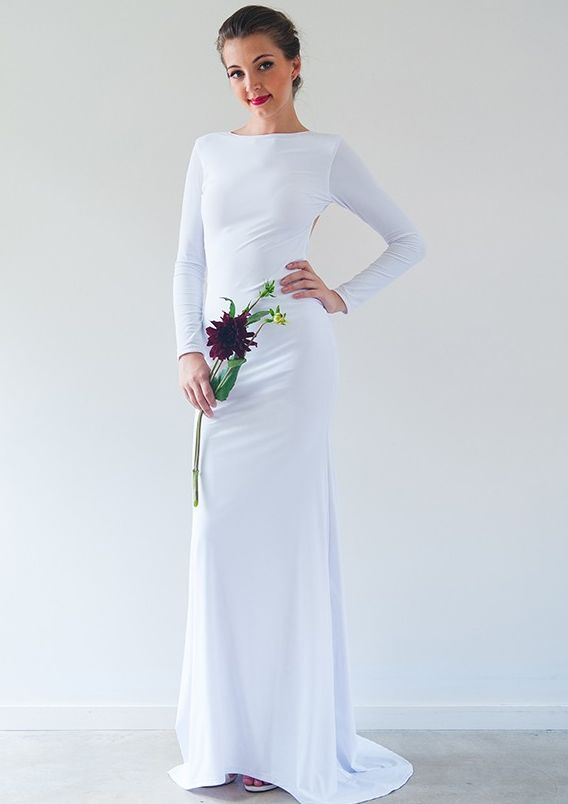 Long Sleeved White Anastasia Gown by When Freddie Met Lilly