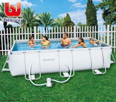Bestway Large Steel Pro Frame Above Ground Swimming Pool -- 404 cmx 201cm x 100cm