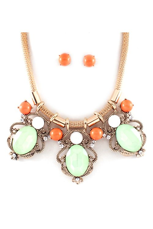 Leatrice Statement Necklace in Sorbet