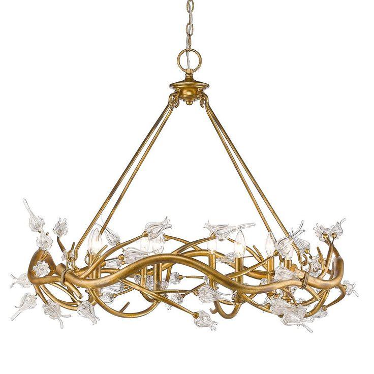 Golden Lighting Aiyana 8-Light Gold Leaf Chandelier with Clear Glass Flower Shades