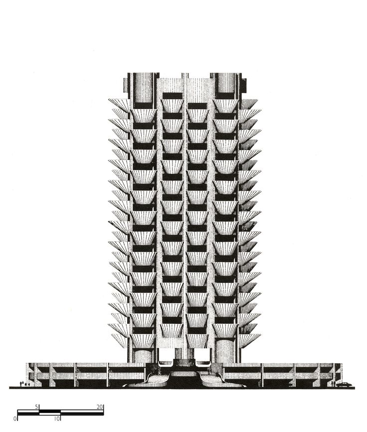 """STUDY OF APARTMENT TOWER """"SKY GARDEN"""" IN GLYFADA, ATHENS, 1972 (COLLABORATION WITH ANDRAULHT-PARRAT).  VIEW - PLAN"""
