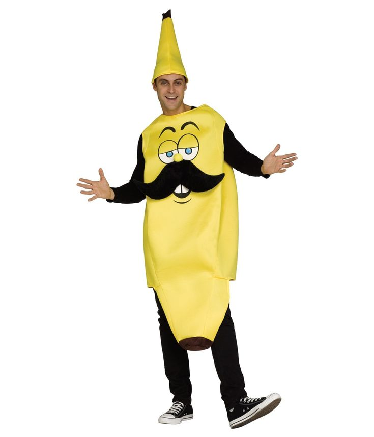 banana adult halloween costume mustache hat one size funny man yellow deal for men - Banana Costume Halloween