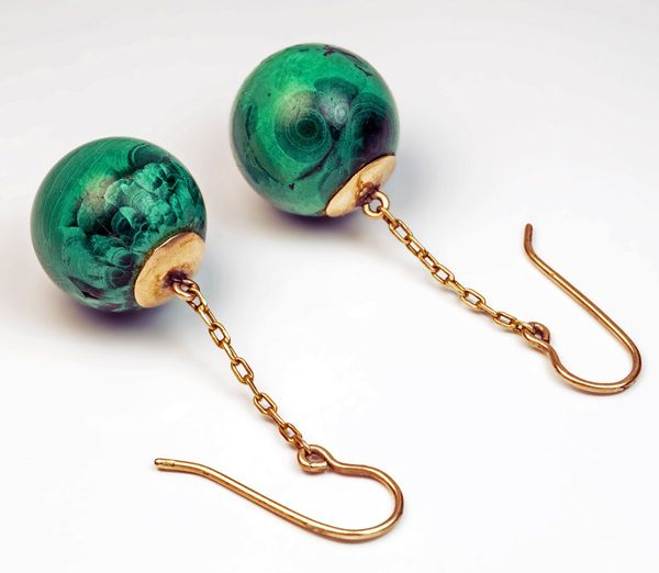 Antique Victorian 1800s Russian Malachite Earrings - Antique Jewelry | Vintage Rings | Faberge Eggs