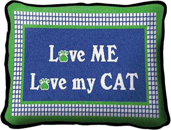 Love My Cat | Woven Tapestry Throw Pillow | 8 x 12 - Cat Gifts for People