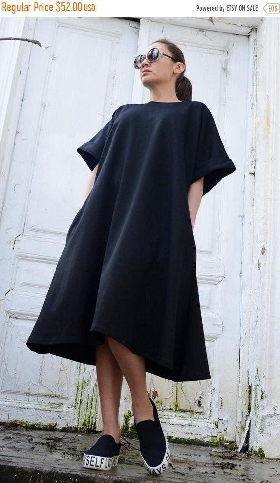 58b07fcdf45b SALE Black Midi Loose Dress/Oversize Short Sleeve Tunic/Plus Size Black Maxi  Dress/Spring Black Short Kaftan/Comfortable Sexy Casual Short D