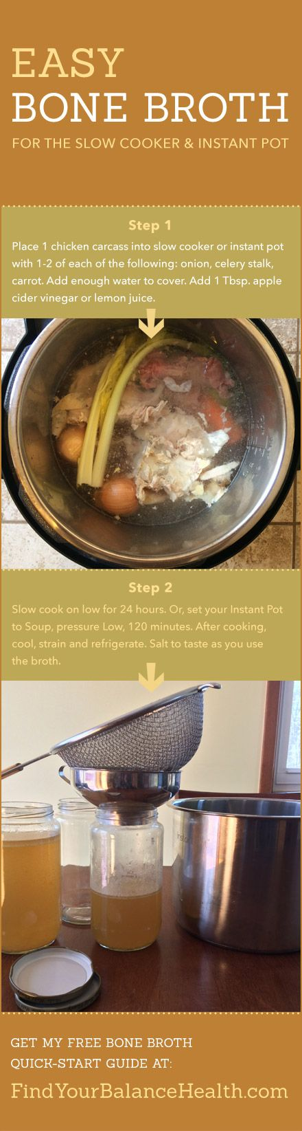 Bone Broth Benefits & Easy Recipe (Slow cooker or Instant Pot)