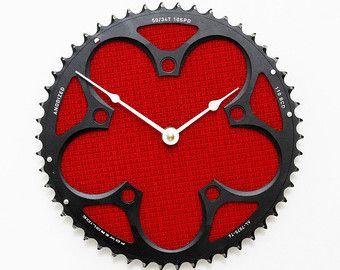 Bicicleta Cog reloj, reloj de pared Industrial, accesorios bicicleta, bicicleta reloj, único reloj, reloj de engranajes de bicicleta, bicicleta de regalo, reloj de pared rojo