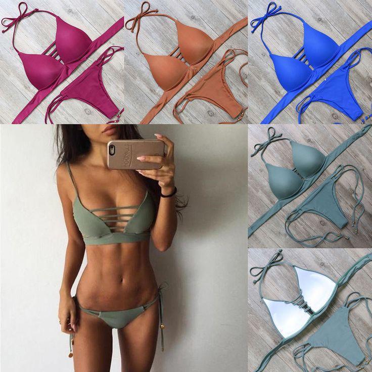Damen Padded Bademode Neckholder Push Up Bügel-Bikini Set Badeanzug Schwimmanzug in Kleidung & Accessoires, Damenmode, Bademode | eBay!