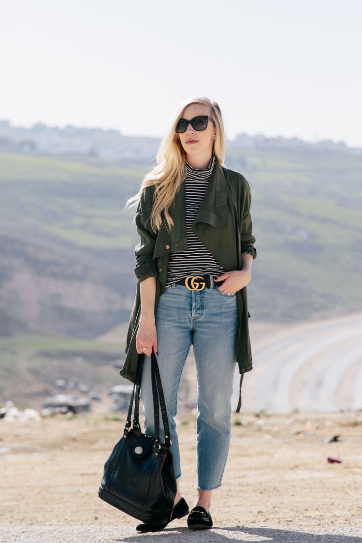 Transitional Spring Outfit Idea with Olive Jacket & Striped Turtleneck: olive jacket with striped turtleneck, Gucci belt, Levi's high waist jeans and Gucci loafers