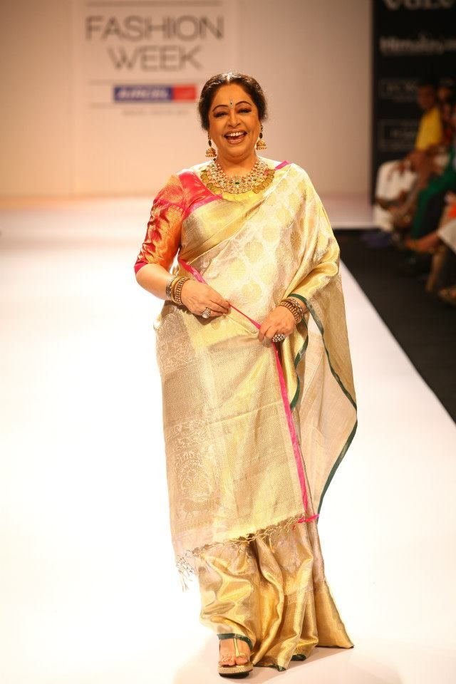 Indian Jewellery and Clothing: Kiran kher in Gaurang shah saree as a shoe stopper in Lakme 'Ardhangini collection and unique design short kasumala...