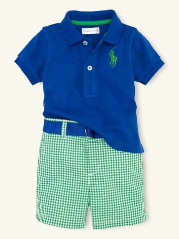 Love this Ralph Lauren gingham short and polo set with matching belt-this would be fantastic for either of my boys!