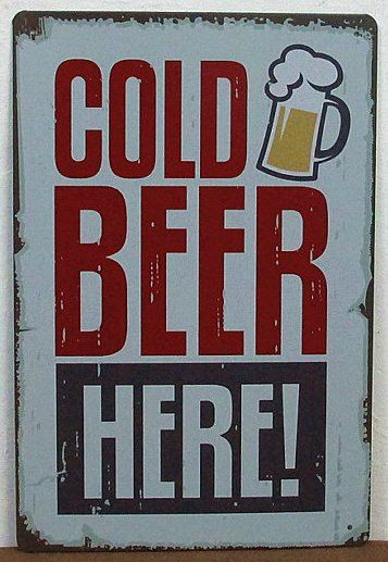 Cold Beer Here Tin Sign Bar Pub Wall Decor Retro by FantasyWalls, $14.00