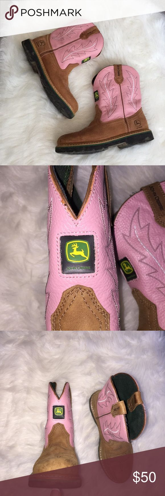 🌸Pink John Deere boots See closet for matching fleece hoodie! Bundle both for $60,firm.) These pink John Deere boots were bought at Tractor Supply Company. They are a youth size 4.5M. True to size. Minimal wear, plenty of tread left on the soles. Quality and long lasting leather and stitching . Pull on style . No lowball offers considered . (These are the equivalent of a 6.5 ladies.) FINAL price drop. John Deere Shoes Boots