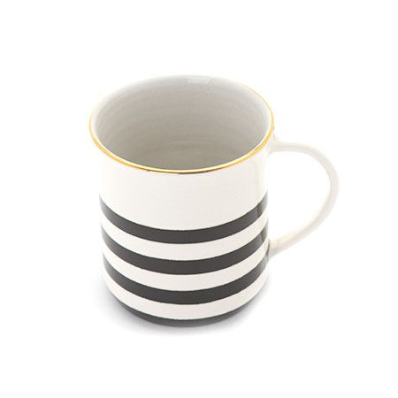 Handmade in the Boston studio, our ceramic mugs are hand painted in a black and white. The black and white stripe pattern for this special Erin Gates collection is inspired by the iconic French bateau