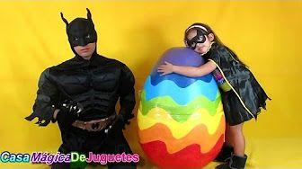 El Huevo Sorpresa Kinder Mas Grande del Mundo con Hombre Arana + Batman + Super Chica + Princesa Ana - YouTube