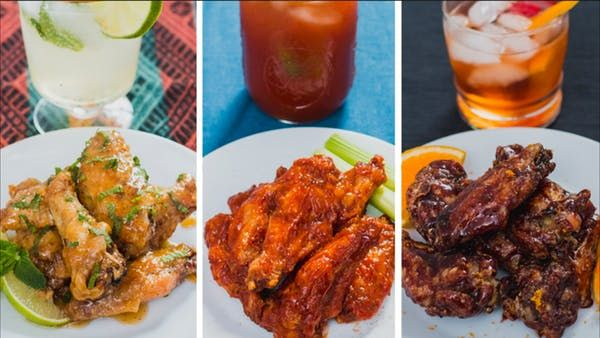 Don't leave your chicken wings out of cocktail hour—make these Bloody Mary, mojito and old-fashioned varieties.