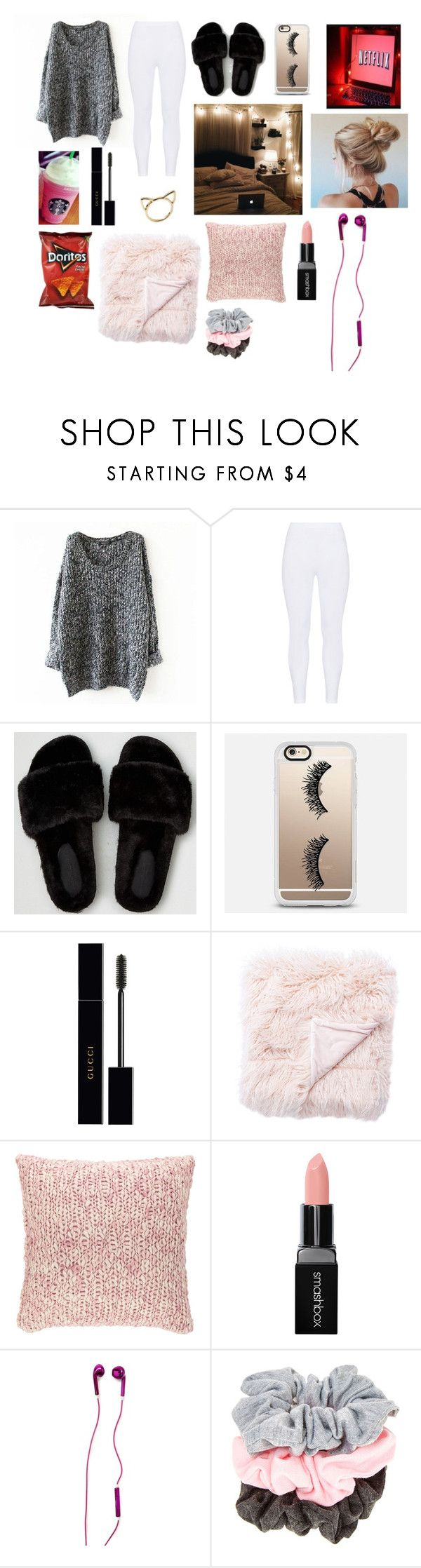 """Comfy • life"" by brielleespinal ❤ liked on Polyvore featuring Gozzip, American Eagle Outfitters, Casetify, Gucci, Jaipur, Pine Cone Hill, Smashbox and Forever 21"