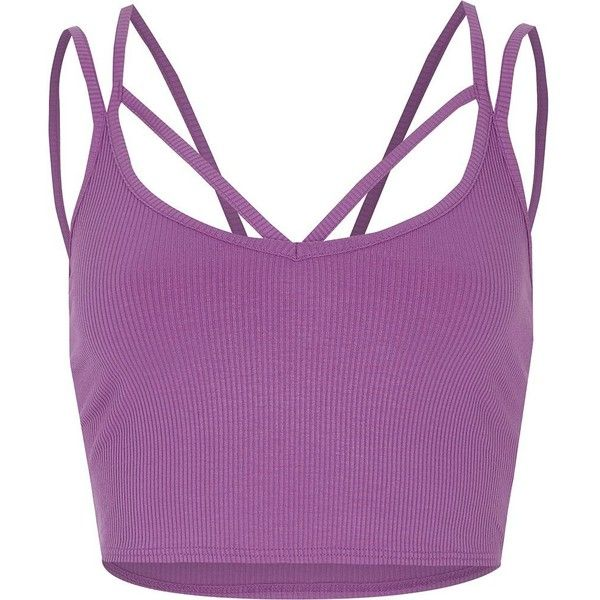 Purple strappy ribbed crop top ($13) ❤ liked on Polyvore featuring tops, crop top, purple top, strappy top, purple crop top and spaghetti-strap tops