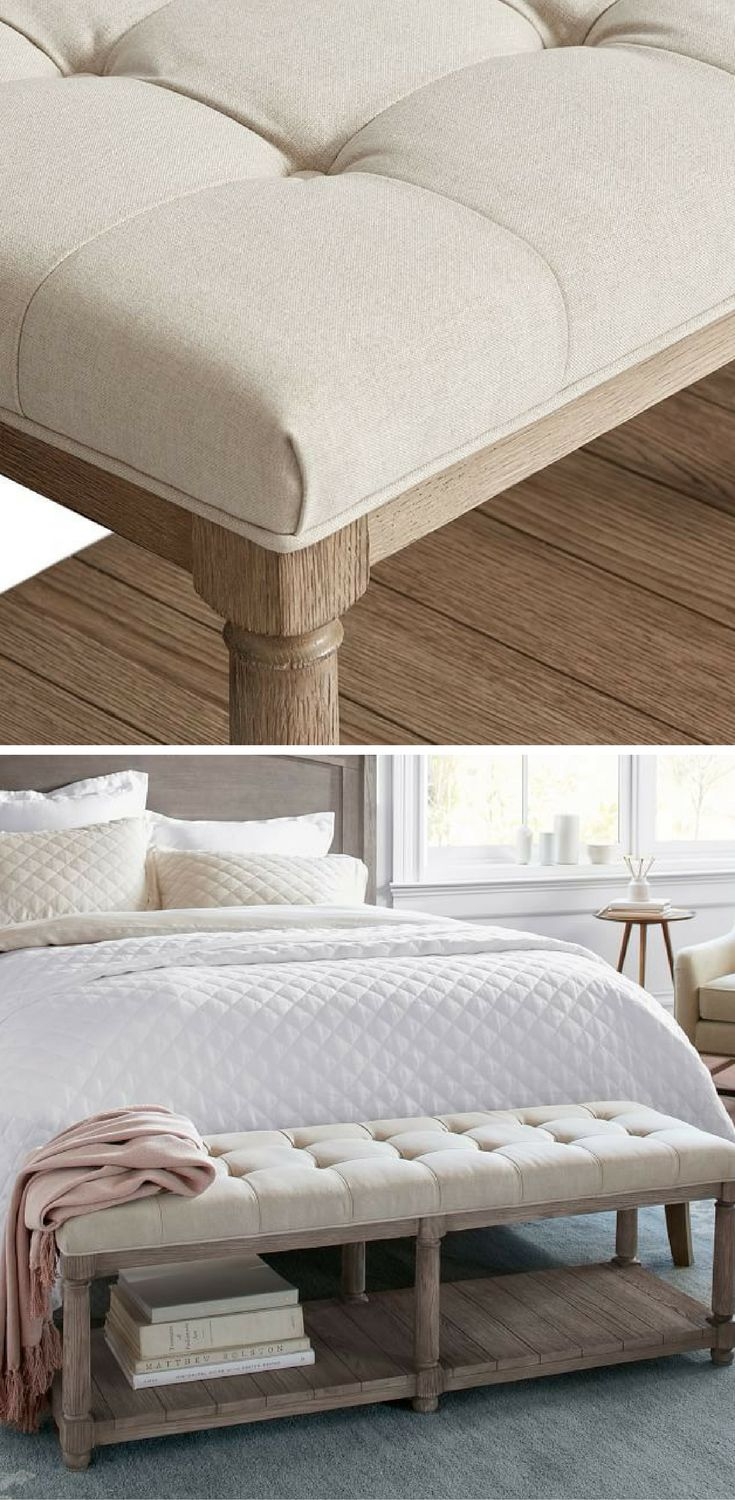 This light finished wood bench with upholstered top nicely finishes off the  foot of your bed