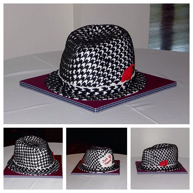 Peuler & Barbour Wedding Bear Bryant Fedora Groom's Cake  Red Velvet Cake with Cream Cheese BC Covered with White Chocolate Ganache  #redvelvetcake #fedora #alabama #bearbryant #groomscake #audubontearoom #cake #universityofalabama #alabamacrimsontide #alabamacrimsontidefootball #celebrate #delicious #customcakes #edibleart #cakesofinstagram #happy #justmarried #love #happilyeverafter #houndstooth #married #nola #sweet #sweets #sweetsbymonica #yum #yummy #football #alabamafootball…