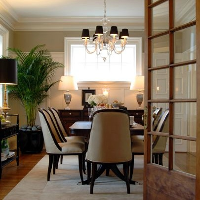 dining room chairs are so cool and give a nod to art deco