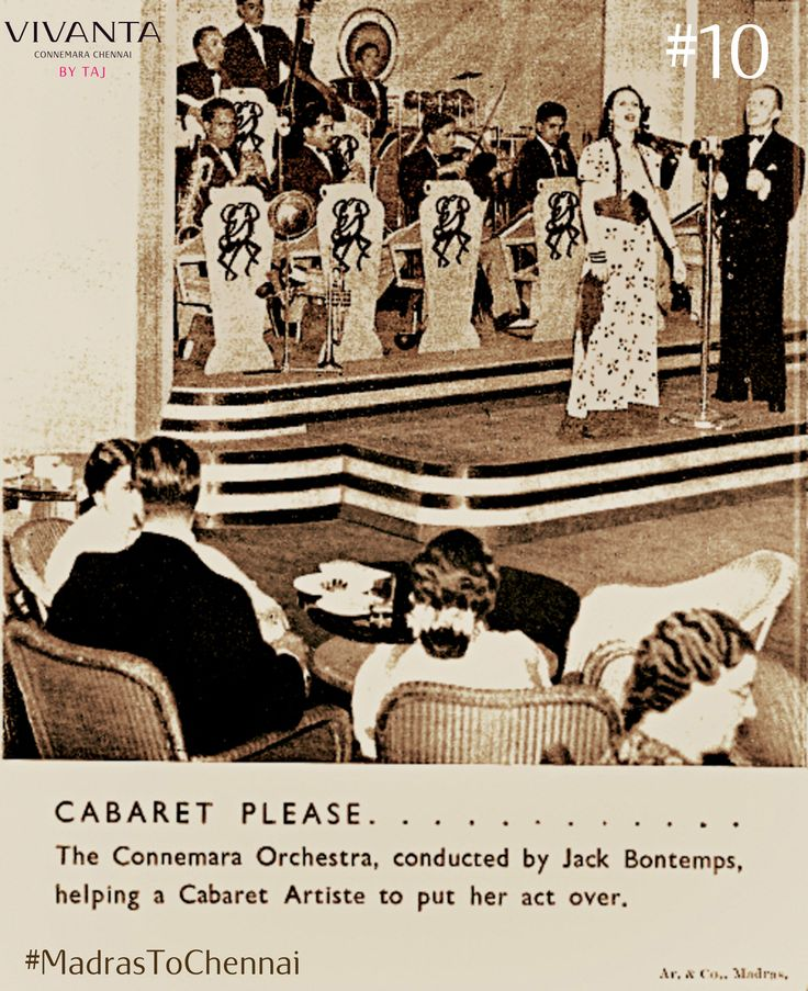 Jack Bontemps and the Connemara Orchestra were a regular feature of the Hotel in the 1940s and the Ball- Room one of the most popular places in town for an evening out.  The years from 1937 till the early 1960s were the high noon of the Connemara. #VintageCool #MadrasToChennai #Connemara