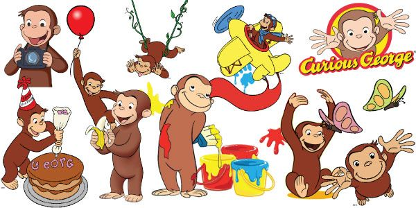 Curious George Clipart   Set of 56  Curious George Clipart.  Excellent for making Cards, Invitation Cards,  Thank You Cards, Scrapbooking...