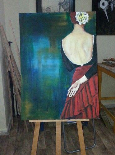 akrilik boya kadın tablo  tabalkon sanat evi woman Painting