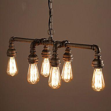 Edison Retro Loft Style Vintage Industrial Pendant Light Lamp Metal Water Pipe,Luminaire Lampara Colgantes – USD $ 166.99