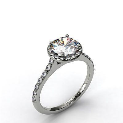 Halo Engagement Setting in Platinum - Ring price excludes center diamond.
