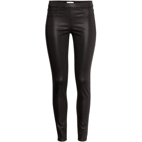 H&M Superstretch treggings (450 CZK) ❤ liked on Polyvore featuring pants, leggings, bottoms, h&m, jeans, legging pants, h&m pants, faux-leather leggings, stretch waist pants and pocket leggings