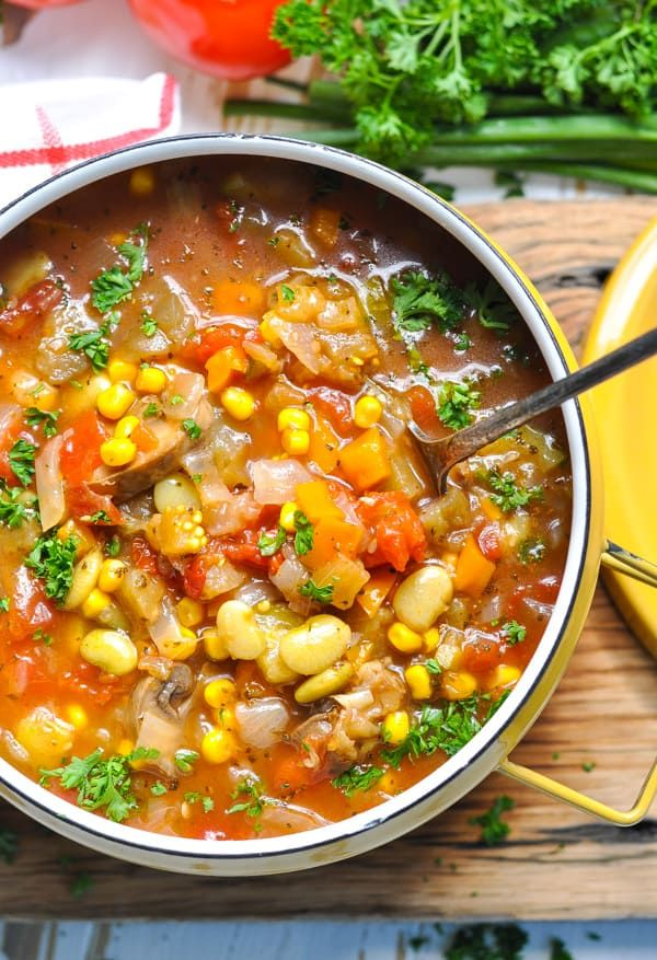 Homemade vegetable soup in instant pot