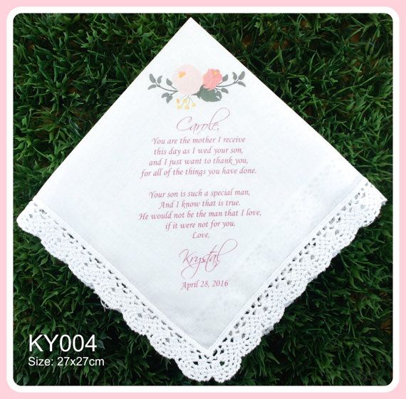 Mother of the Groom Handkerchief from the Bride-Wedding Hankerchief-PRINTED-CUSTOMIZED-Wedding Hankies-Gifts to Mother in Law
