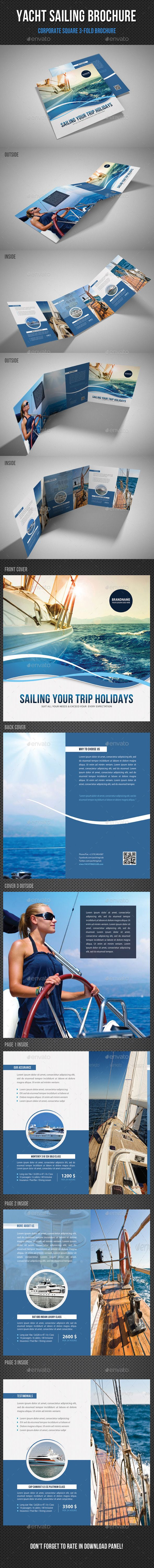 Yacht Boat Sailing Square 3-Fold Brochure Tempalte #design Download: http://graphicriver.net/item/yacht-boat-sailing-square-3fold-brochure-02/11339703?ref=ksioks