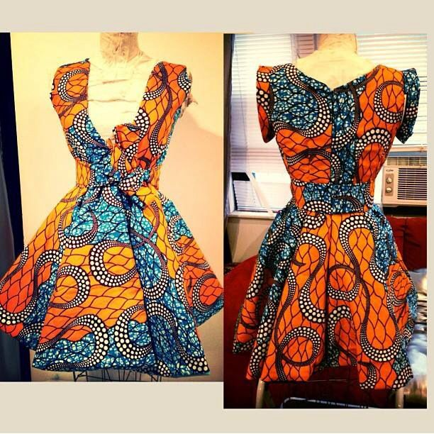 Orange/blue/black/white Ankara print fabric short dress