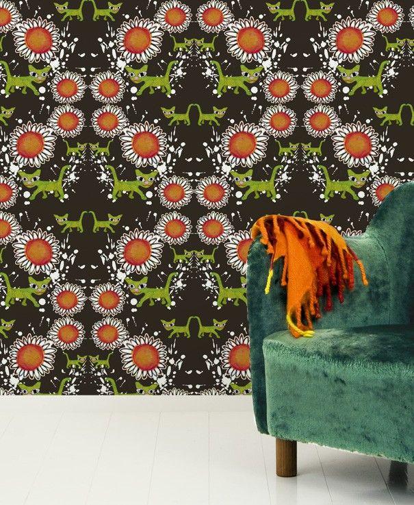 Wallpaper, Cat Flowers by Scandinavian designer Camilla Eltell Form - Nordic Design Collective