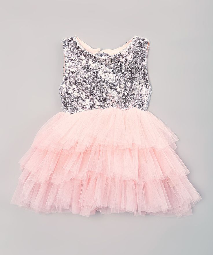 Look at this Pink & Silver A-Line Dress - Infant, Toddler & Girls on #zulily today!