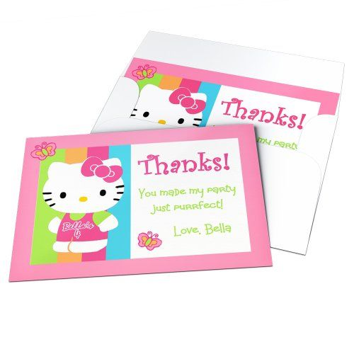 Hello Kitty Themed Party Supplies & Decoration Ideas. hello kitty party thank you cards