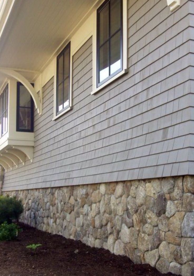 Shingle Siding Over Stone Foundation House Exterior Exterior House Colors House Foundation