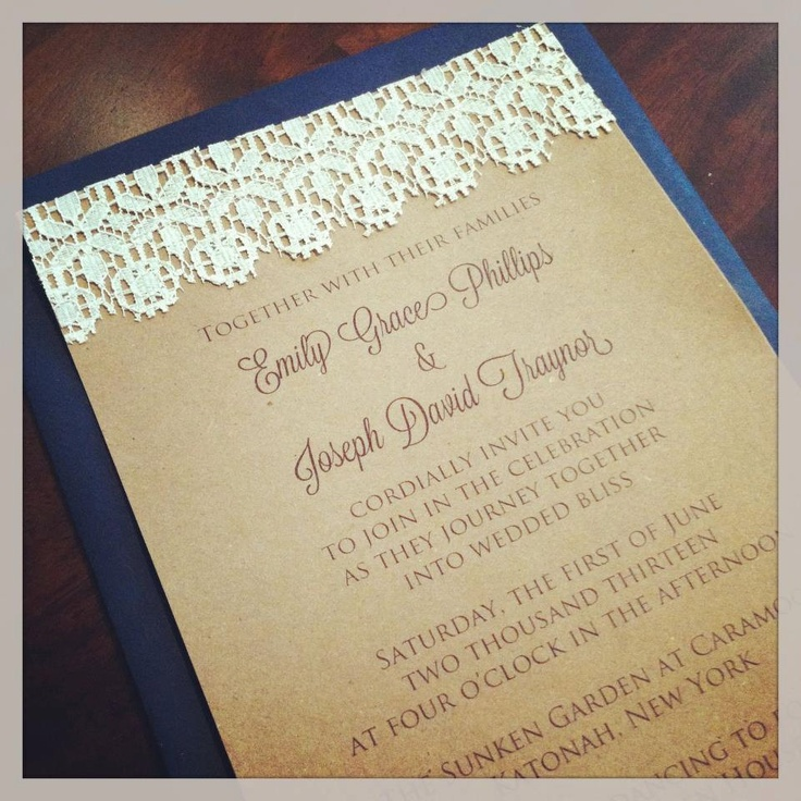 lace wedding invitation wrap%0A The Emily Vintage Lace Wedding Invitation Suite  Kraft Brown Paper with  Real Lace by jojobeandesigns