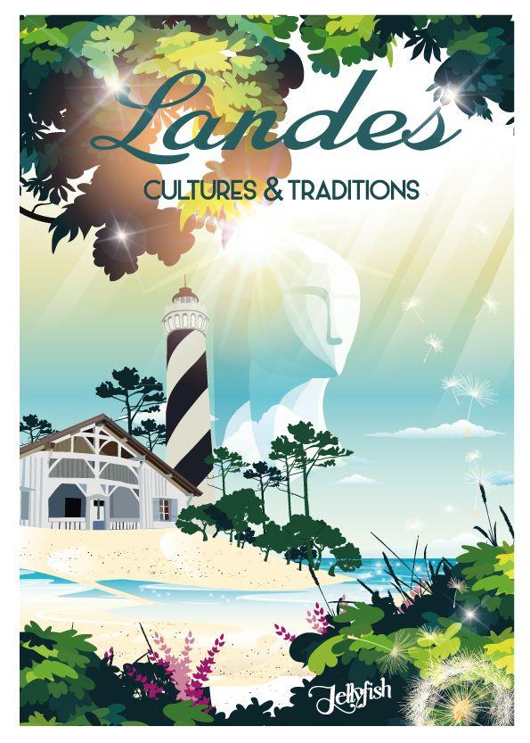 Affiche Les Landes Cultures Et Traditions Affiches De Voyage Retro Affiches De Voyage Affiche De Voyage Vintage