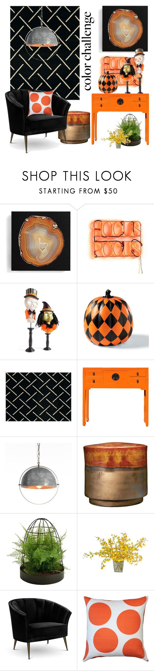"""color challenge: orange & black"" by art-gives-me-life ❤ liked on Polyvore featuring interior, interiors, interior design, home, home decor, interior decorating, Grandin Road, United Weavers of America, West Elm and Picnic at Ascot"