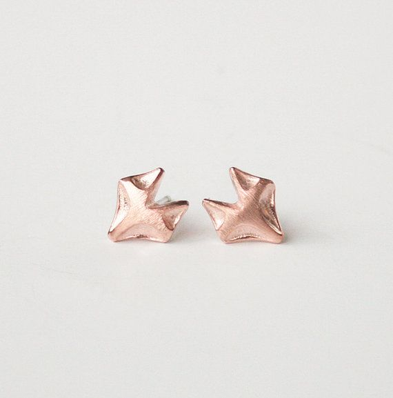 Rose Gold Fox Earrings, Stud Earring, Simple Earrings, Dainty Earrings, Minimalist Jewelry, Tiny Earrings, Gift Earrings,925 Silver Post
