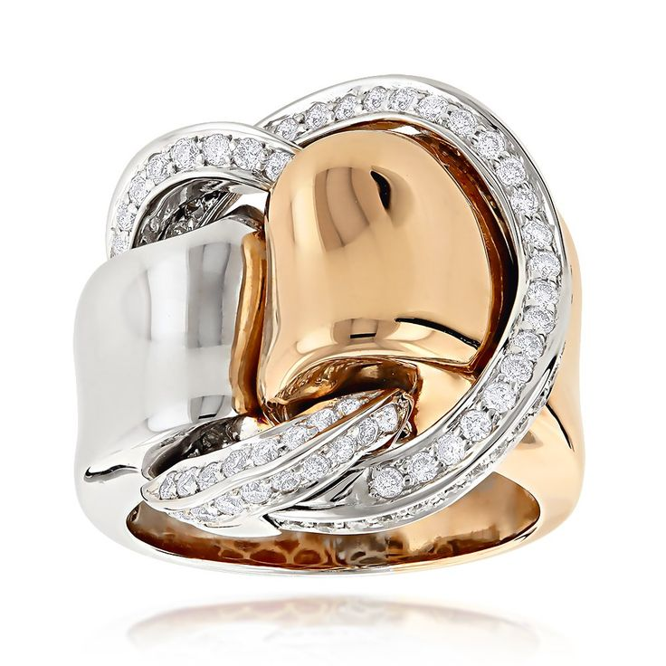 Unique Rings for Women | Designer Cocktail Rings: Two Tone Unique Diamond Ring for Women 18K ...