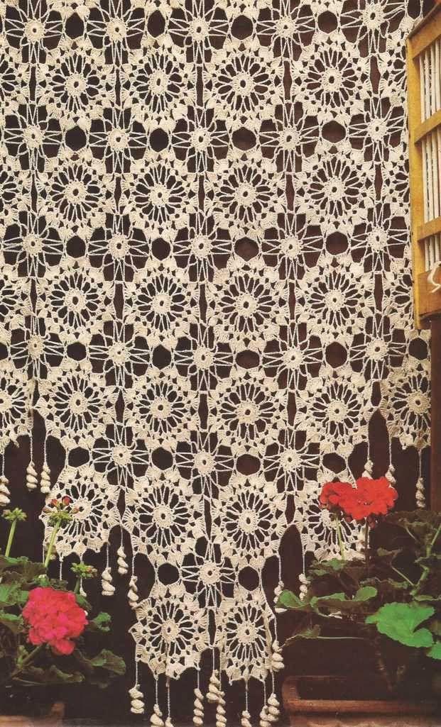 #461 Cortina de ruedas a Crochet o Ganchillo