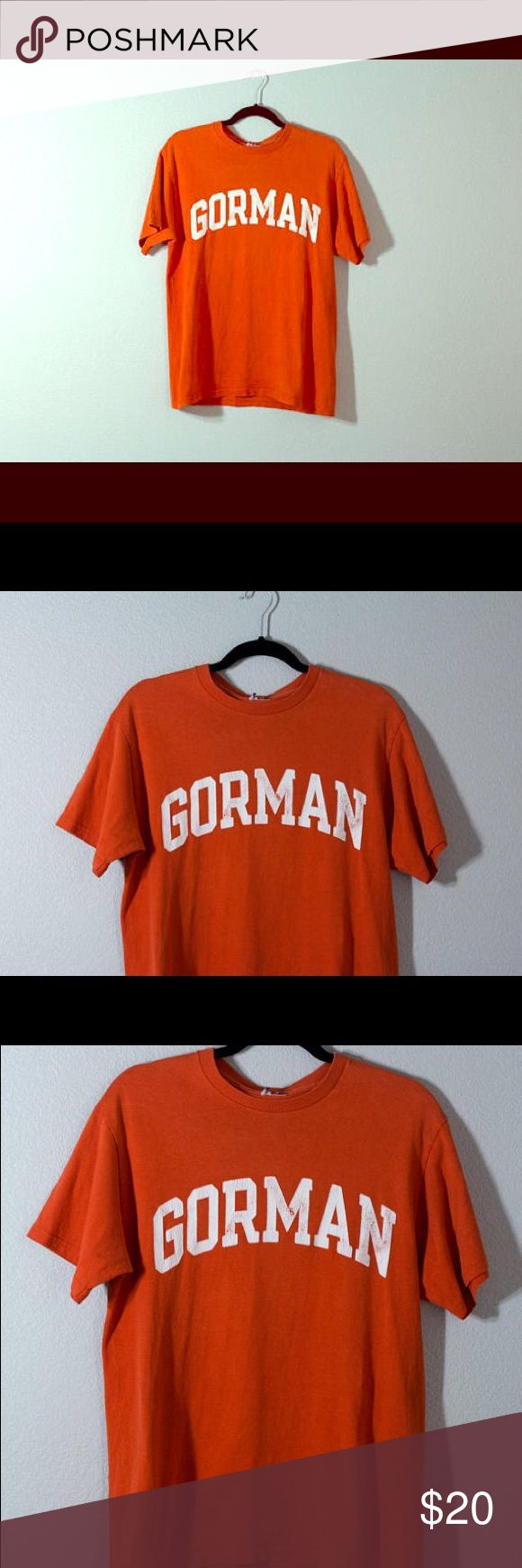 Orange BISHOP GORMAN High School College Tee Shirt Retro Vintage BISHOP GORMAN High School College University Script Text Tee Shirt  Color: Orange  Size: Medium  Condition: Normal wearing/minor cracking on lettering, please see photos. Otherwise, great/good condition Shirts Tees - Short Sleeve