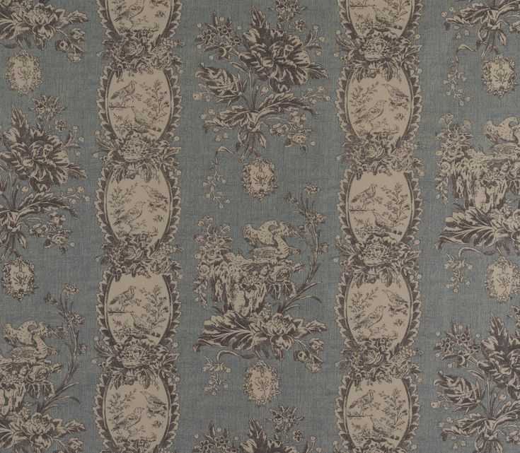 Les Oiseaux 6201 -Duck Egg : Classic Toile de Nantes design, featuring birds and lace edged stripes, printed on linen union with a textured antique-effect background.Marvic Textiles