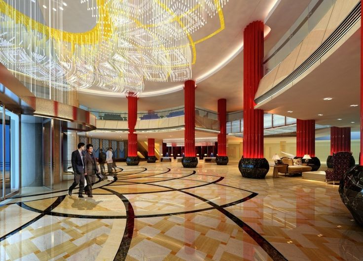 Luxurious hotel lobby amazing big luxury chandelier red for Amazing luxury hotels